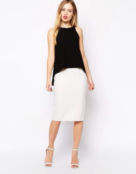 dress white pencil dress with black second layer over the top