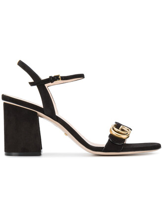 women sandals leather suede black shoes