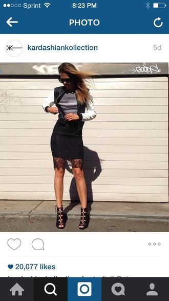 shoes black lace up high heels jacket black white jacket leather jacket