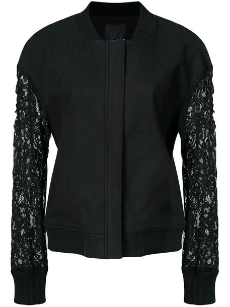 Thomas Wylde - lace sleeves jacket - women - Cotton/Tencel/Spandex/Elastane/Polyester - 4, Black, Cotton/Tencel/Spandex/Elastane/Polyester