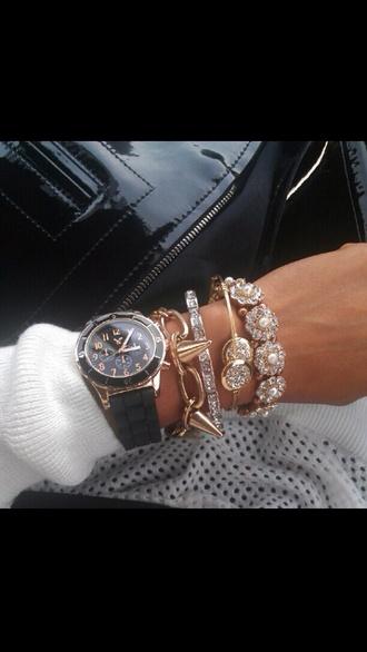 bangles jewels gold bracelets black sparkle jewelry gold jewelry watch black watch spikes floral