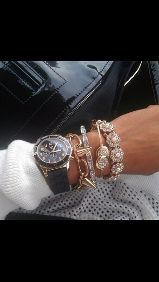 gold bangles black jewels bracelets sparkle jewelry gold jewelry watch black watch spikes flowers