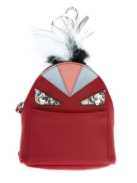 Fendi bag charm fur fox women bag backpack leather red