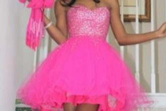 dress hot pink fluffy prom dress sparkly sweetheart neckline prom tule dress short