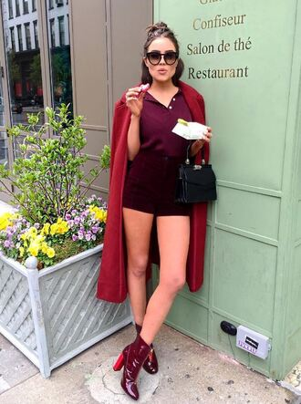 shorts insttop instagram olivia culpo blouse coat spring spring outfits shoes