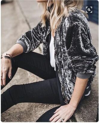 jacket bomber jacket grey grey bomber velvet velvet bomber cute style fashion fall outfits