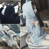 sweater,black,grey hoodie,bunny,rabbit ears,bunny ears sweatshirt,wish app,grey,hoodie,sweatshirt,bunny ears