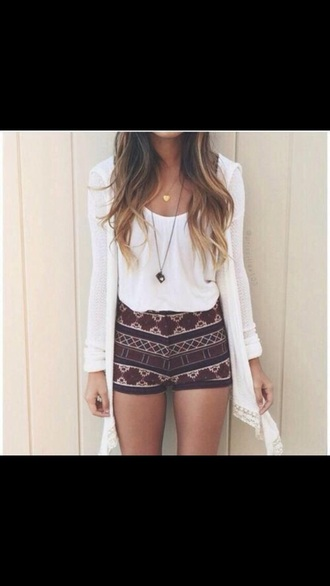 shorts high waisted short maroon aztec