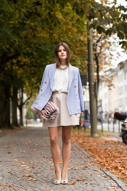 the fashion fraction blogger skirt white shirt light blue blazer nude high heels jacket shirt bag shoes jewels