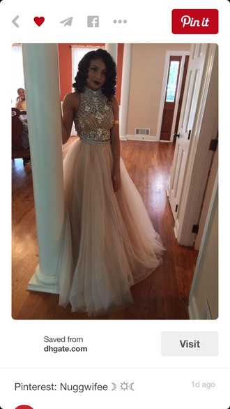 dress long dress prom dress long prom dress tan two-piece
