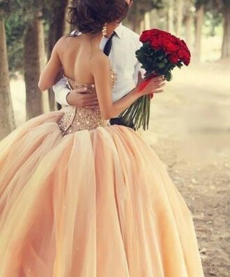 dress prom gown prom dress pink peach peach dress prom gown wedding dress princess princess dress sparkles bag nude