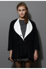 Contrast Lapel Wool Peplum Coat  - Retro, Indie and Unique Fashion