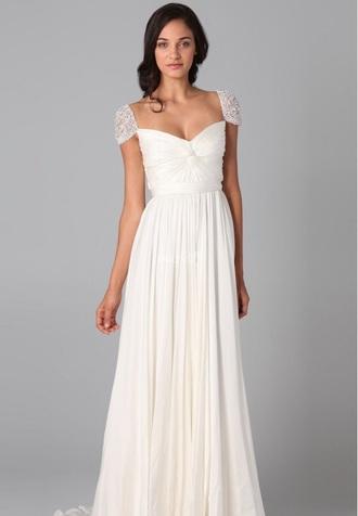 dress white white dress cap sleeve prom dress wedding dress long dress beaded dress pretty gorgeous love
