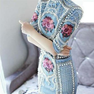 dress light blue beaded balmain bodycon bodycon dress luxury pearl pearl dress blue baby blue