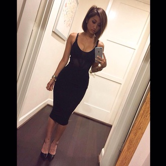 dress black dress midi dress brenda song hair make-up shoes