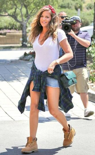shirt flannel dark green shorts t-shirt bandana bag khloe kardashian timberlands shoes