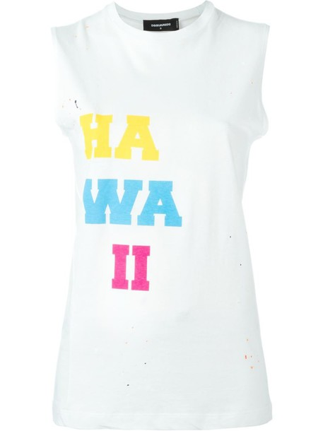 Dsquared2 top printed top women white cotton
