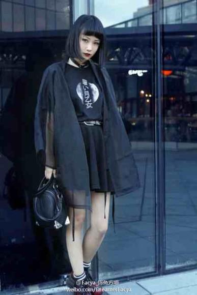 shirt t-shirt skirt fashion shoes kawaii dark kawaii grunge black grunge jewels moon japan bag
