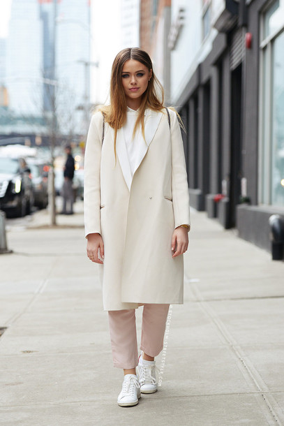 Coat White Winter Outfit White Coat Top White Top Pants White