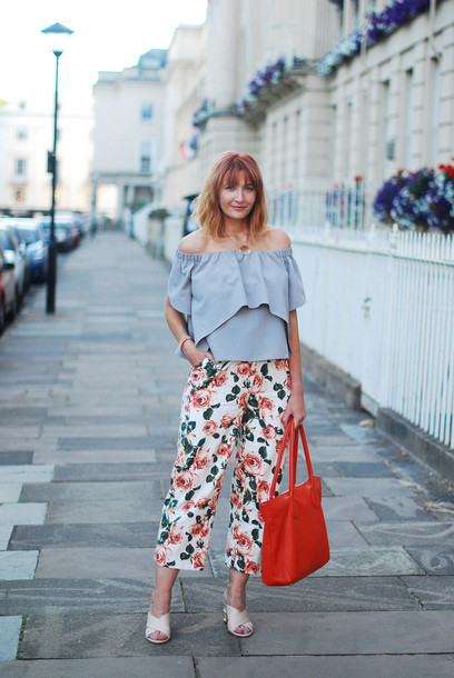 not dressed as lamb - over 40 fashion blog blogger top pants bag shoes jewels blue off shoulder top off the shoulder off the shoulder top blue top printed pants culottes red bag cropped pants ruffle ruffled top mules white mules