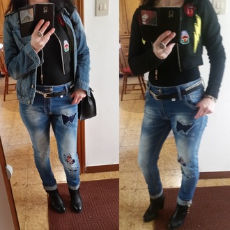 jacket denim jeans ripped jeans ripped jacket denim jacket denim ripped women short jacket leather boots black leather boots