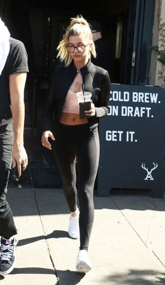 jacket sportswear hailey baldwin sneakers leggings sports bra glasses