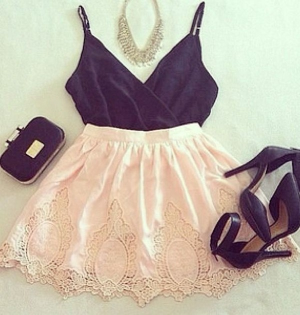 skirt lace skirt pink lace skirt pink black pink and black pink skirt black bodysuit bodysuit blouse
