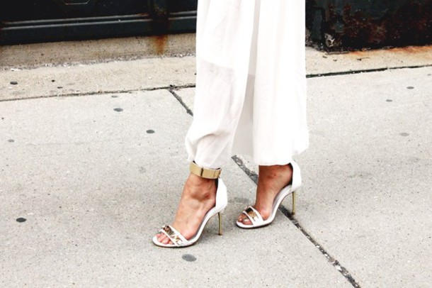 shoes white heels open toes classy