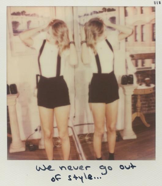 polaroid camera suspenders celebrity style shorts