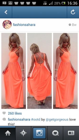dress summer outfits maxi dress prom dress maxi bright orange coral neon
