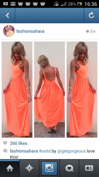 dress bright summer neon coral maxidress promdress maxi orange