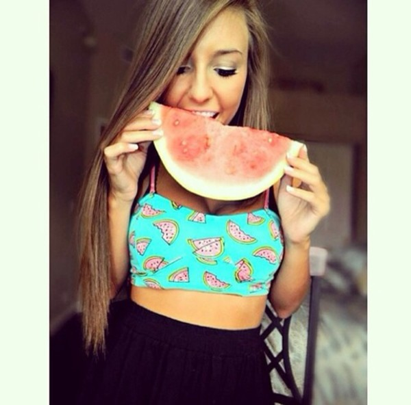 watermelon print tank top swimming fruits shirt