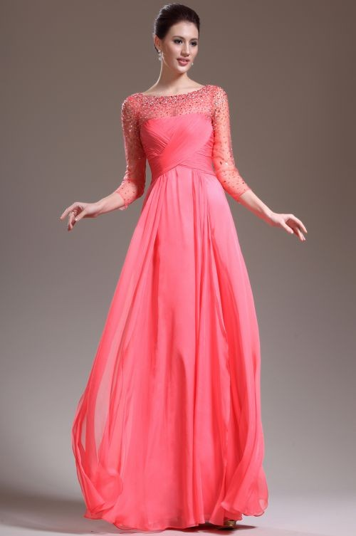 A Line Tank Top Floor Length Chiffon Red Evening Dress With Draped Adoet0010 - Evening Dresses - Special Occasion Dresses