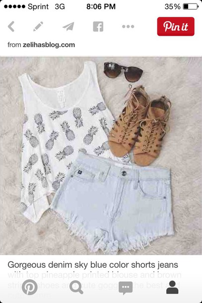 top shorts shirt shoes