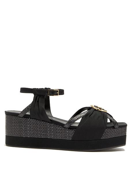 embellished wedges black shoes