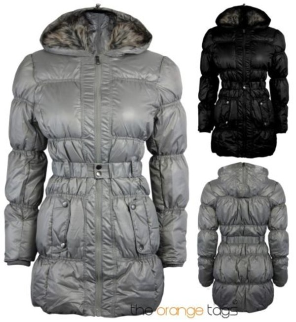 coat fur hood down jacket quilted belted parka jacket winter outfits silver black warm trendy fur trim hood