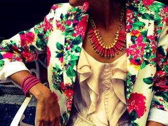 jacket floral americana blazer colorful necklace pink green colourful necklace colourful necklace floral blazer