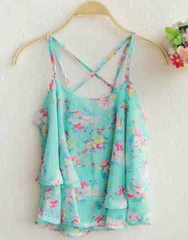 tank top floral floral tank top floral style spring styles spring outfits top flowers dubble layer slim bands shirt cute