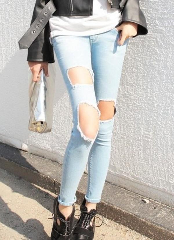 jeans hole jeans denim denim pants pants hole pants blue blue pants