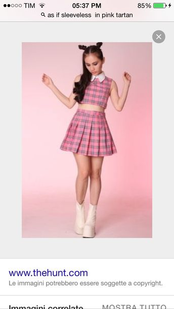 Dress: pattern, plaid, plaid skirt, plaid two piece, pink skirt ...