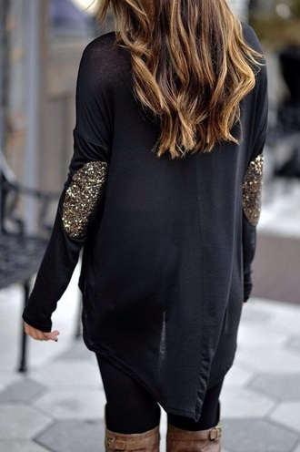 shirt sparkles high heels sweater black top