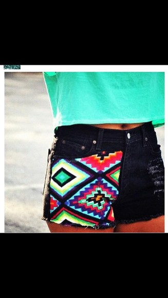 shorts black shorts distressed tribal print distressed denim shorts coloured denim