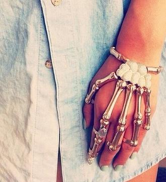 jewels bracelets skeleton gold blouse