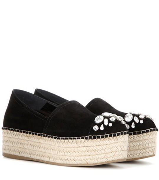 Miu Miu embellished espadrilles suede black shoes
