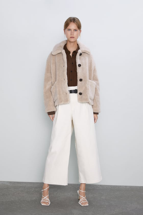 CROPPED FAUX SHEARLING COAT