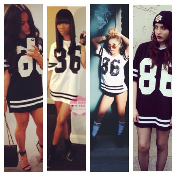 Shirt White Black Jersey Girly Tumblr Girls