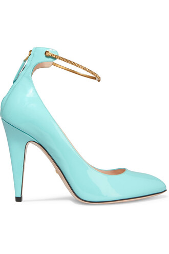 pumps leather turquoise shoes