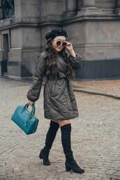 gracefullee made,blogger,jacket,bag,jewels,sunglasses,shoes,handbag,boots,over the knee boots,beret
