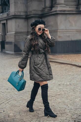 gracefullee made blogger jacket bag jewels sunglasses shoes handbag boots over the knee boots beret