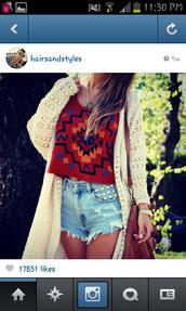 shirt,tribal pattern shirt,nitted cartigan,studded shorts,leather bag